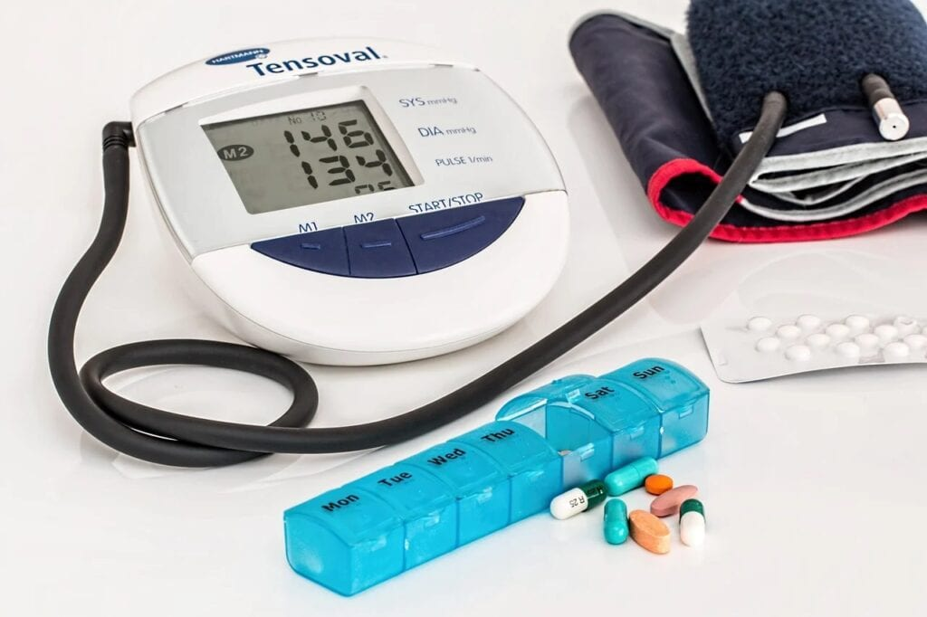 Blood pressure monitor and daily medications